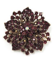 Vintage-Bronze Plated Purple Rhinestone Crystal Flower Bridal Pin Brooch