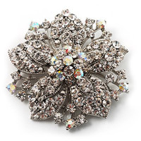 Celtic ab flowers - Vintage Rhodium Silver Plated Clear and Clear AB Rhonestone Crystal Diamante Flower Party Brooch