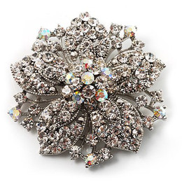 Vintage-Rhodium Silver Plated Clear and Clear AB Rhonestone Crystal Diamante Flower Party Brooch