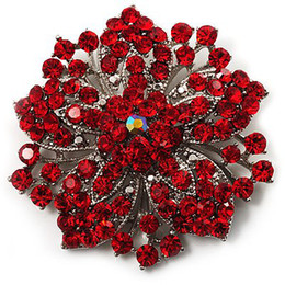 Vintage-Rhodium Silver Red Rhinestone Crystal Diamante Flower Wedding Brooch