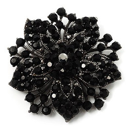 Vintage-Gun Black Base Black Rhinestone Crystal Diamante Flower Wedding Brooch