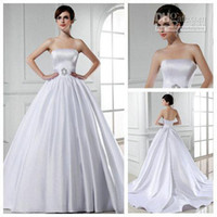 Model Pictures Sweetheart Zipper Real Model White Satin Vintage Style Bridal Wedding Dress Wedding Dress Ball Gown 2013