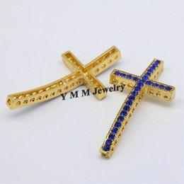 25x48mm Gold Plated Sideways Cross Connectors Blue Rhinestone Fashion Jewelry Findings 20pcs Wholesale