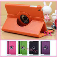 Wholesale 8 Colour Rotate Drees Rtating Cover For IPAD MINI Leather stand cover holder set case pen Protector