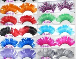 Cils de scène à vendre-Coloré de la mode plume cils faits à la main faux cils partie magnifique exagération cils maquillage scène 32 styles
