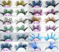 Wholesale Colorful Fashion Feather Handmade Eyelashes False Eyelash Party Gorgeous Exaggeration Eyelash Stage Makeup mix order pairs