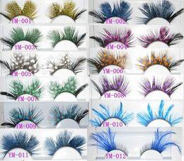 Cils de scène en Ligne-Plume de mode coloré cils faits à la main faux cils partie magnifique exagération cils étape mélange de maquillage ordre 30 paires / lot