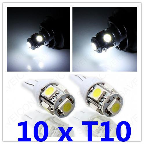 10 x Blanc Xenon T10 Wedge 5-SMD 5050 LED ampoules De Plaque d'immatriculation F