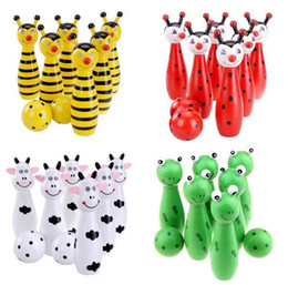 Wholesale 4 Styles Lovely Baby Wooden Animal Bowling Baby Sport Game Wood Educational Funny Outdoor Bowling Game B0723