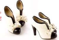 leather pumps - Sexy Lady Beige PU Leather Bow Pump Platform Wood Women s High Heels Shoes Adeal
