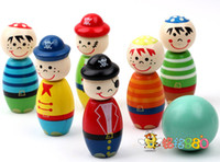 Wholesale EMS FREE Pirate Pattern Children Wooden Bowling Baby Balls Game Baby Intellectual Toys Baby Educational Toys B0724