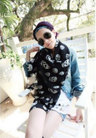 Wholesale Big And Small Skull Scarf Chiffon Long Black And White Shawl Sunscreen Pashmina Women Gift C0887