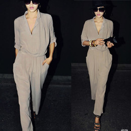 Wholesale Fashion Chiffon Shirt Collar Jumpsuit Half Sleeve Solid Color Shirt Harem Pants Loose Casual Pants Ladies Jumpsuits