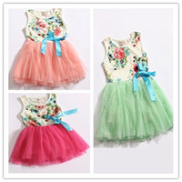 Wholesale 4pcs Children girl s summer sleeveless colorful flower TUTU dress Pastoral style CFLR color sizes