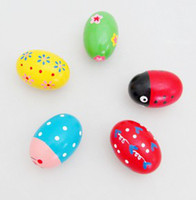 Wooden maracas - Cartoon Colorful Orff Wooden Maracas Eggs Baby Funny Wood Instrument Toys Infant Educational Toys B0726