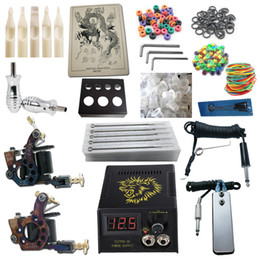 Wholesale Top Tattoo Kit Pro Machine Guns Power Supply Needles Grips Tips Tattoo Kits