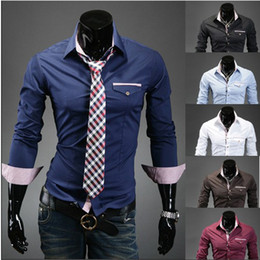Wholesale Drop shipping Mens Long Sleeve Shirts Cotton Lapel Mens Shirt Slim Dress Shirts For Men Business Shirts colors Size CL211