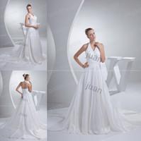 Wholesale Famous Designer A Line Wedding Dresses Halter Applique Beaded Taffeta Wedding Gown