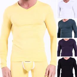 Wholesale Sexy Men s Tops Modal Long Johns Smooth Thermal Underwear Shorts For Man Tops V Neck Long Sleeve Shirts Bottoming Shirts