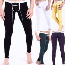 Wholesale Sexy Mens Pants Men s Man Male Thermal Underwear Long Pants Warm Winter Tight Leggings Trousers Long Bottoms Pants S M L Size Colors