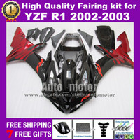 fairing r1 - 7 gifts red flame black fairing kit for YAMAHA YZF R1 YZFR1 YZF R1 ABS fairings amp windscreen RB7711