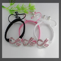 crystal Rhinestone Beaded, Strands 15pcs silver plated Crystal Rhinestones Sideways RIBBON BREAST CANCER AWARENESS Connectors beads Macrame Bracelets Adjustable