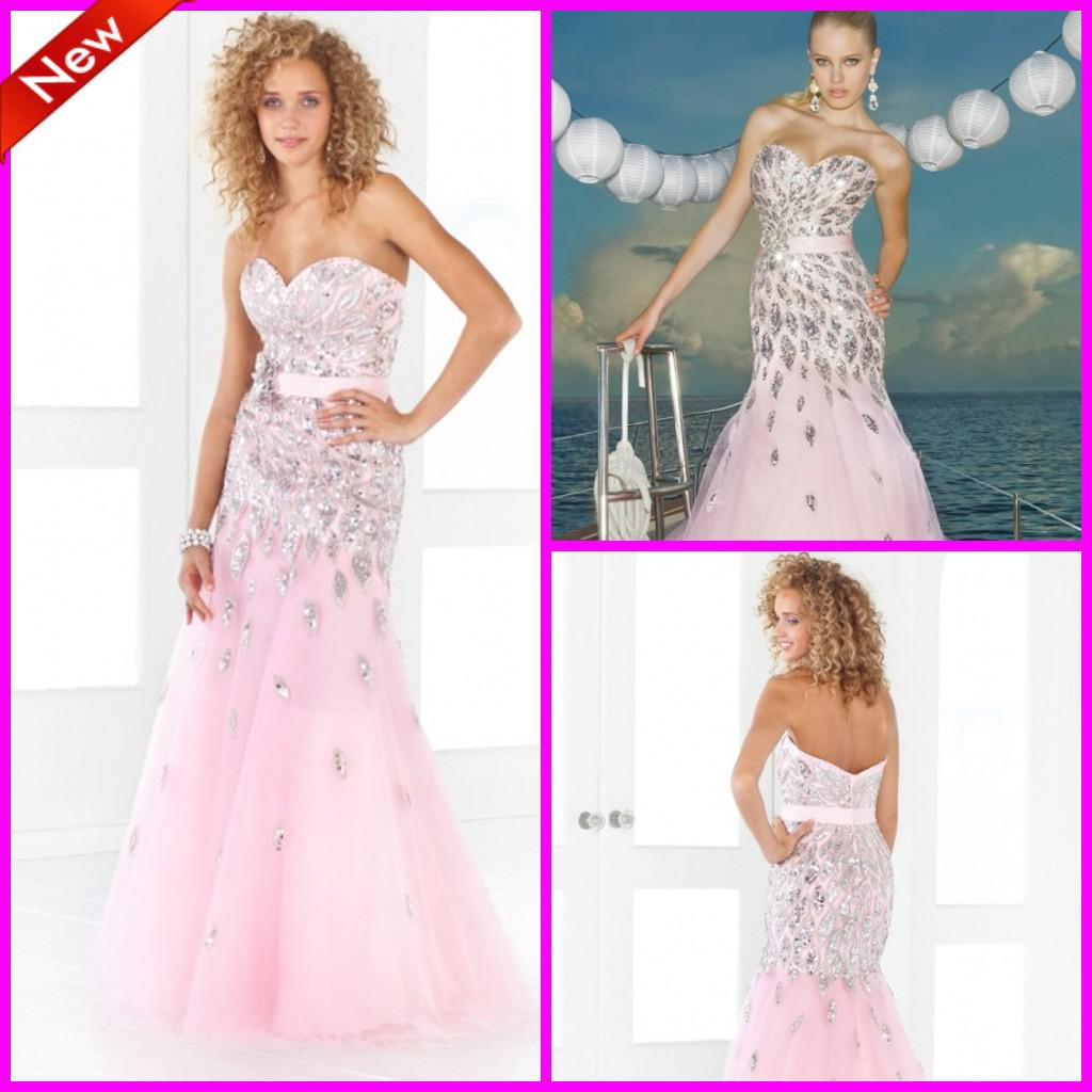 Pink Mermaid Luxury Shiny Beaded Sequins Long Pageant