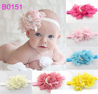 Wholesale Vintage Infant Baby Girls Kids Hair Accessories Pretty Unique Rosette Petals Pearls Headbands Lovely Children Hair Bands Multicolor B0151
