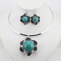 Turquoise antique costume jewelry earrings - Vintage flower turquoise necklace earring fashion costume jewelry set antique silver plated necklace LM_S032