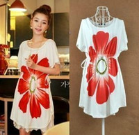 Wholesale 2013 Women Maternity Dresses Casual Pregnant Clothing Short Sleeved Cotton Big Flower Maternity Dress Outwear Sun Dress White Free Size