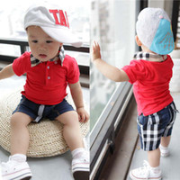 Wholesale Child Clothing Baby Suit Kids Sets Fashion Summer Casual Plaid Shorts Boys Short Sleeve T Shirt With Collar Children Set Kids Suit Outfits