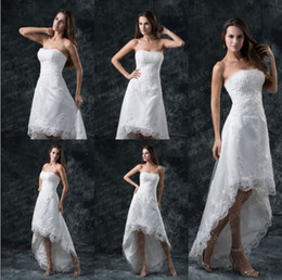Wholesale 2017 Strapless Bateau A line Hi lo Wedding Dresses Lace Strapless Garden Bridal Gown Summer Fashion Vestios De Novia Bridal Dresses DH4425