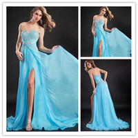 Sheath/Column Sexy Beads Wholesale - Sweetheart Full Beaded Floor Lenght Long Prom Dresses Sexy Side Slit Skirt Alluring Light Sky Blue Evening Gowns Girl Party Gown