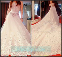 Wholesale High Quality Lace Corset bodice Sweetheart A Line Sleeveless Chapel Train Wedding Dresses Bridal Gowns