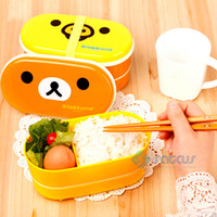 Wholesale Hot Selling Colors Relax Bear Bento Lunch Box Heat Preservation With Chopsticks