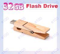 Wholesale 32GB Wood Clamps Shape USB Flash Memory Pen Drive Sticks Thumb Drives Disks Discs GB Pendrives Thumbdrives Q084A