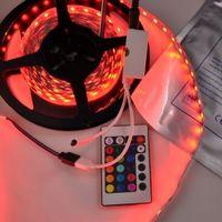 Wholesale SMD5050 leds RGB strip light DC12V W M leds Non waterproof LED Flexible Strip RGB Color with keys remote controller