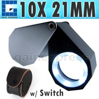 Wholesale GM10 Precision Foldable x Magnification Triplet Optic Lens Jeweler Loupe Magnifier LED light mm lens