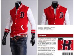 Wholesale 2014 Fashion Men Hoodies Cotton Letter B Embroidery Stand Collar Baseball Uniform Hoodies Cardigan Slim Fit Men s Hoodies