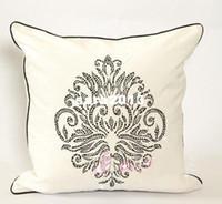 other black pillow cases - Europe luxurious hotsale velvet diamond pillow cushion cover case freeshipping black amp white