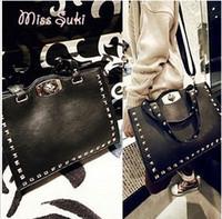 Women Plain PU Hot sale women black punk rivets handbags Messenger shoulder bag female retro pu leather designer bag #9619