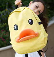 Wholesale Fashion Cheap Casual Backpack Korea Style Big Canvas Shoulder Bags Yellow Duck School Bags PC A17