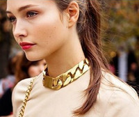 Wholesale Fashion Chokers Alloy Chunky Twisted Link Chain Ladies Statement Choker Men Unisex Necklace Collar Charm Jewelry gold color