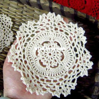 Wholesale cotton LACE hand made Crochet doilies cup mat Natural color Round Doily CM