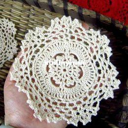 Wholesale cotton LACE hand made Crochet doilies cup mat Natural color Round Doily CM