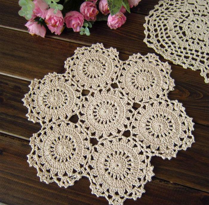 Crosia Flower Designs Bags : Lace Cotton Fabric Ecru Table Mat Flower Design Placemat Crochet ...