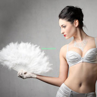 Wholesale EN0771 White Elegant Large Feather Folding Hand Fan Wedding