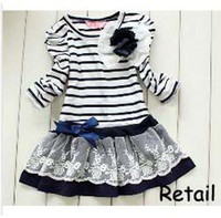Cheap Retail Free shipping baby girl striped children lace dress chest with flowers baby dress