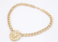 Party big chunky necklaces wholesale - big gold necklace for women animal head necklaces fashion gold chunky chain gold women chunky lion head necklace