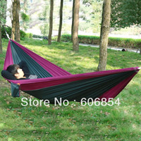 Wholesale Portable Parachute Nylon Fabric Travel Camping Hammock For Double Two Person colors for your choice